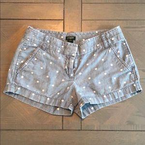 JCrew denim polka dot cityfit shorts size 00